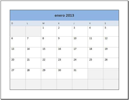 Calendario 2013 en excel