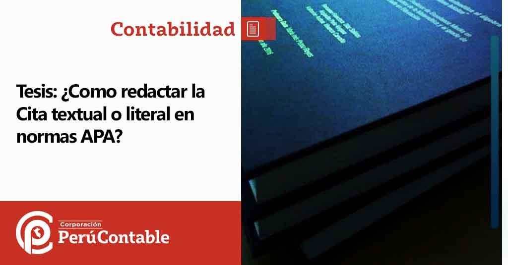 Tesis Como Redactar La Cita Textual O Literal En Normas