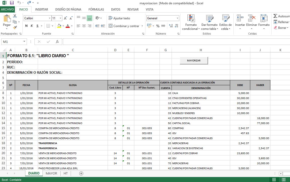 Descargar » Plantilla Excel – Mayorización