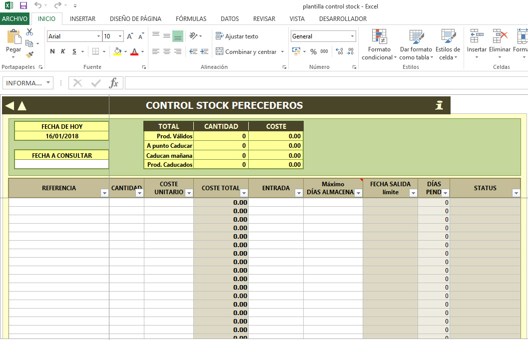 Plantilla excel control de stock y caducidades