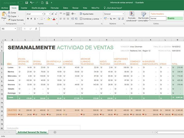 Plantilla excel Informe de ventas semanal