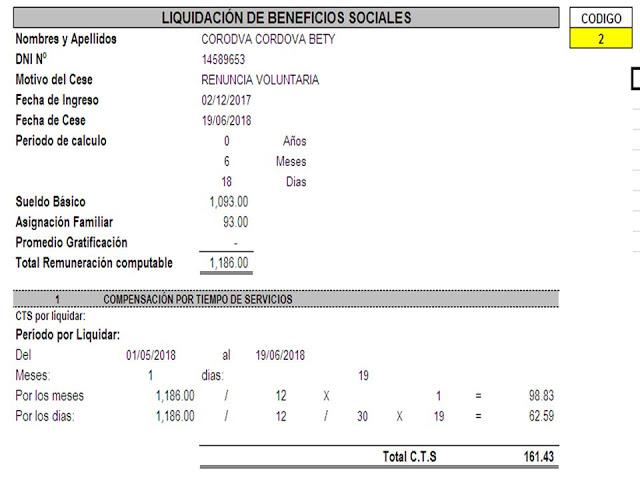 Formato liquidacion beneficios sociales