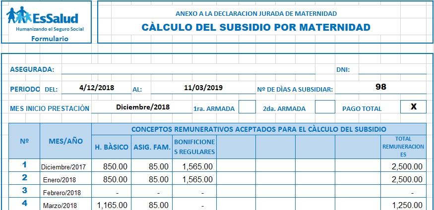 calculo subsidio maternidad essalud