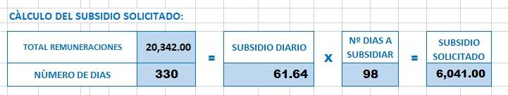 calculo subsidio solicitado