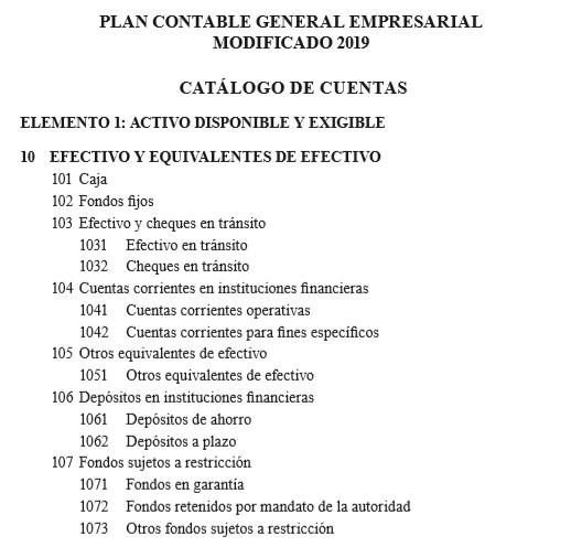plan contable general empresarial modificado 2019