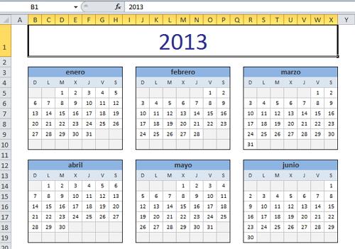 Calendario excel 2013