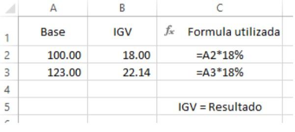 Función suma aplicada en el Registro de Compras