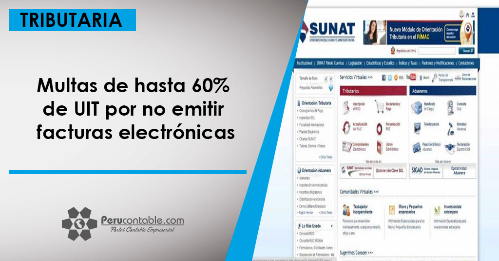a5e692ad3 Multas de hasta 60% de UIT por no emitir facturas electrónicas ...
