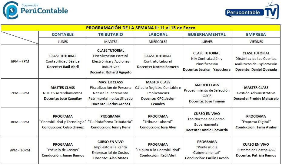 Programación Perucontable TV del 11 al 15 de Enero