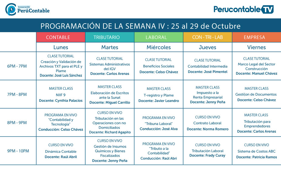 Programación Perucontable TV del 25 al 29 de Octubre